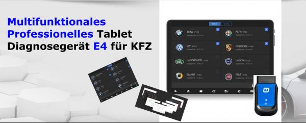 Multifunktionales Professionelles Marken Tablet Diagnosegerät E4 für KFZ - ECU Key Programmierung Öl