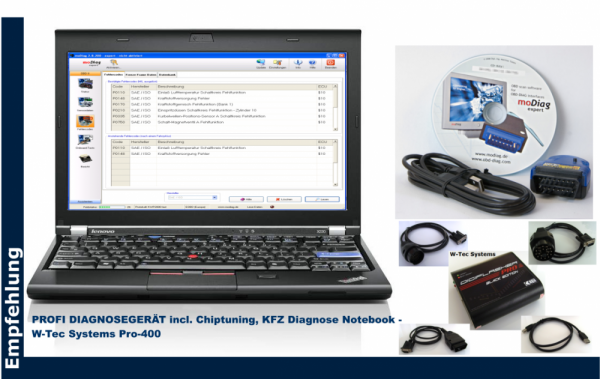 All-in-One, 3-in-1 Marken PROFI DIAGNOSEGERÄT incl. Chiptuning, KFZ Diagnose Notebook - W-Tec System