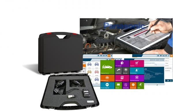 Werkstatt Profi KFZ Diagnose Koffer QLEX 1, komplett mit Panasonic Tablet, Software und Kabellosem OBD2 Interface