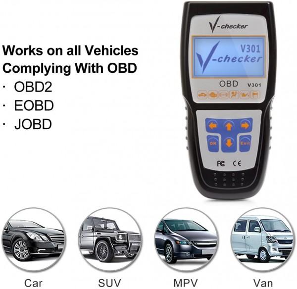 V-CHECKER V301 EOBD OBD2 Scanner Auto Motor Fehlercodeleser Can Diagnosegerät