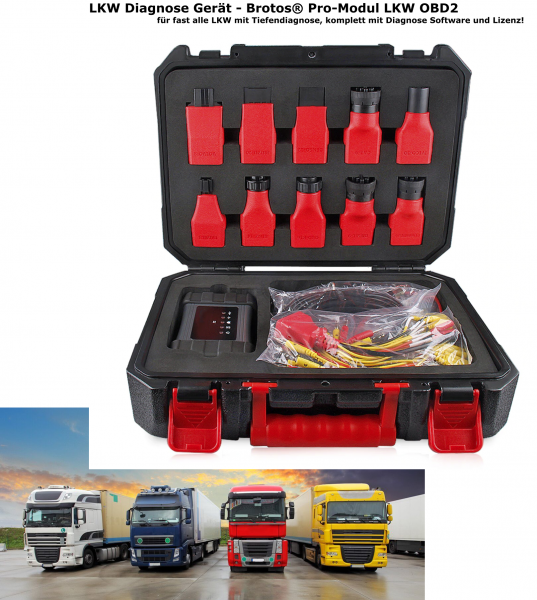 LKW Diagnose Koffer- Brotos® Pro-Modul LKW OBD2 für fast alle LKW mit Tiefendiagnose, komplett mit Adapter,- und Kabelsatz