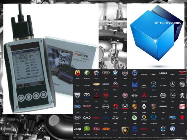 W-Tec Systems - 400H - Ultramoderner OBD2 und Can-Bus Scanner - Multimarken Fahrzeugdiagnosesystem.